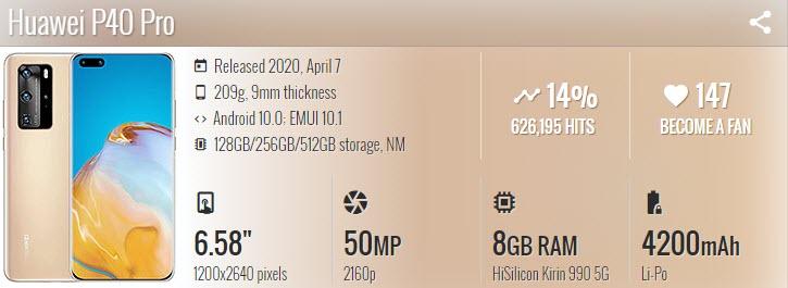 موبايل Huawei P40 Pro - موبي زووم