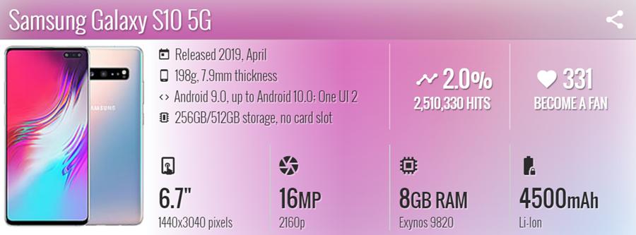 موبايل Samsung Galaxy S10 - موبي زووم
