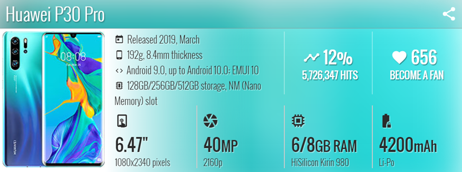 هاتف Huawei P30 Pro - موبي زووم