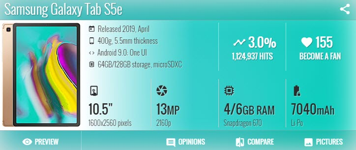 سامسونج Samsung Galaxy Tab S5e - موبي زووم