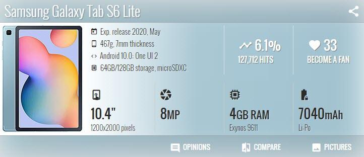 تاب اس 6 لايت Samsung Galaxy Tab S6 Lite - موبي زووم