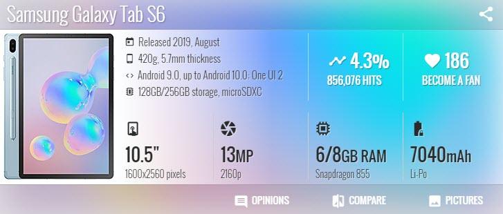 تاب اس 6 Samsung Galaxy Tab S6 - موبي زووم