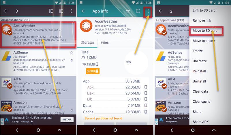 نقل التطبيقات من الهاتف الى SD - موبي زووم