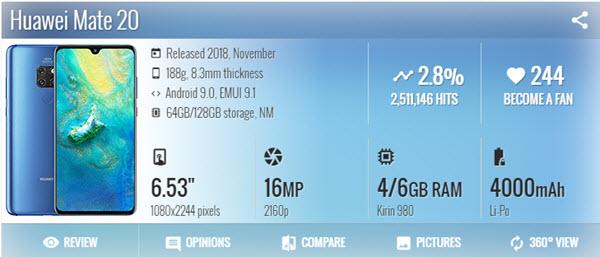 هواوي Huawei Mate 20 - موبي زووم
