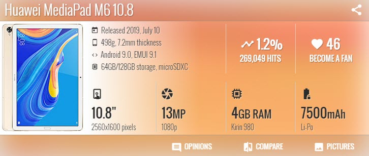 Huawei MediaPad M6 10.8 - موبي زووم