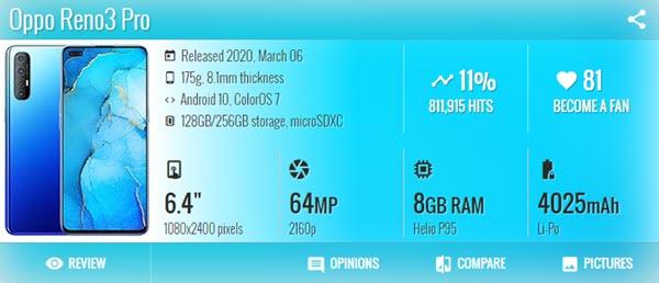 اوبو رينو Oppo Reno 3 Pro - موبي زووم