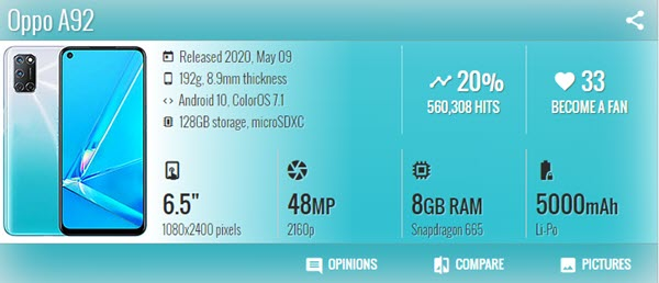 اوبو Oppo A92 - موبي زووم