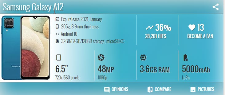 Samsung Galaxy A12 الكاملة - موبي زووم
