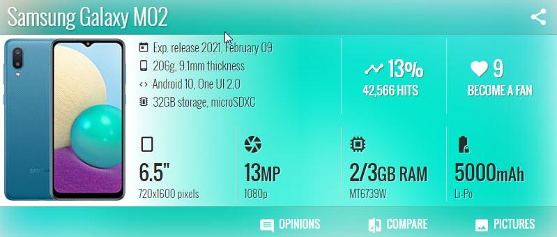 Samsung Galaxy M02 - موبي زووم
