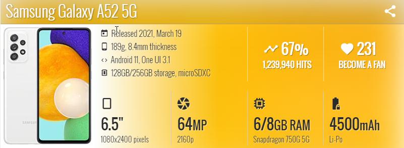 Samsung Galaxy A52 5G - موبي زووم