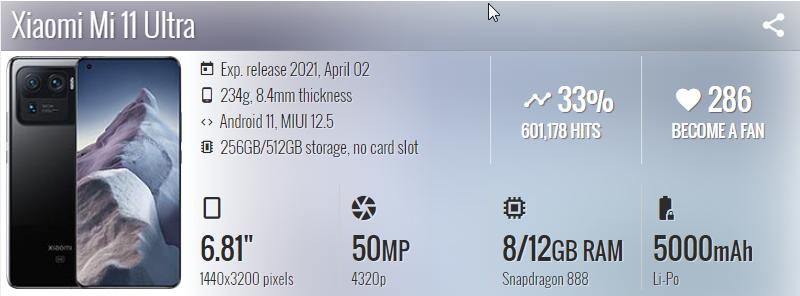 Xiaomi Mi 11 Ultra - موبي زووم