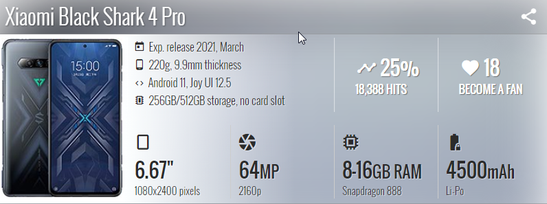 Xiaomi Black Shark 4 Pro مواصفات - موبي زووم