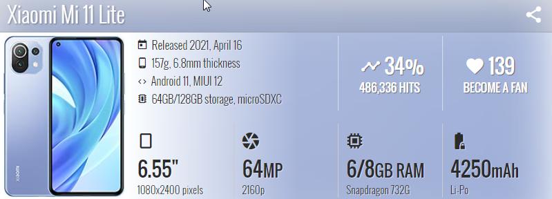 Xiaomi Mi 11 Lite 4G - موبي زووم