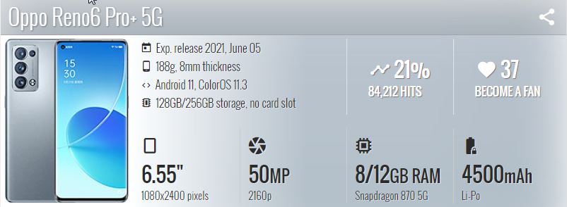 Oppo Reno 6 Pro Plus - موبي زووم