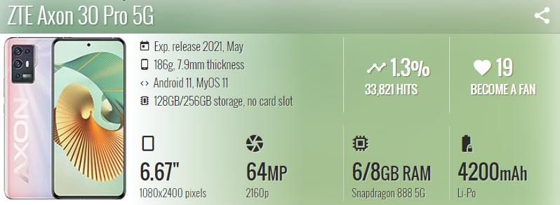 ZTE Axon 30 Pro 5G - موبي زووم