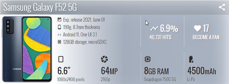 Samsung Galaxy F52 5G - موبي زووم